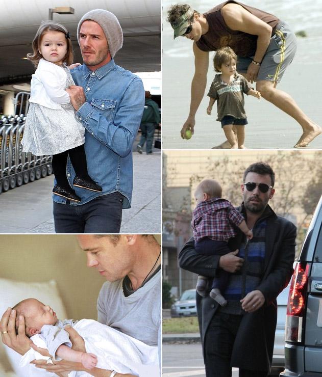 Papais galãs: esses não precisam nem esperar os filhos nascerem para se sentirem assim. Mas que ficam umas gracinhas com os pequenos, isso ficam. No sentido horário, David Beckham, Matthew McCounaghey, Brad Pitt e Ben Affleck
