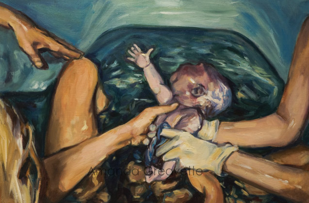 Um bebê nascendo na água é uma das pinturas de Amanda Greavette