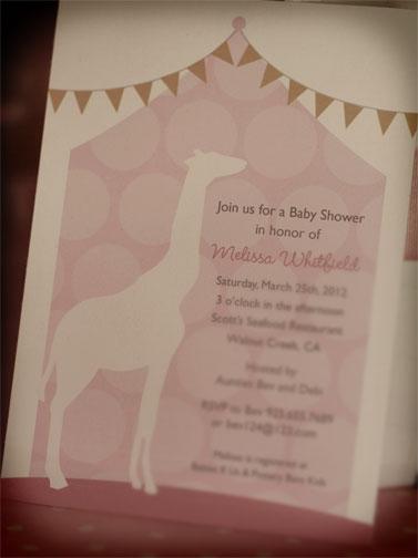 Convite para chá de bebê de menina: festa da girafa!
