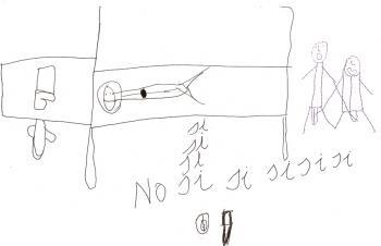 """Andrea, 10 anos - Representou como eram os abusos: ela tinha que tocar o pênis do cara e ele tocava a vagina dela. Ela ficou com vergonha de responder às questões do psiquiatra e aceitou escreve-las no desenho. Por isso as palavras """"sim"""" e """"não"""" na imagem."""