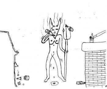 Fernando, 13 anos - Ele foi abusado pelo seu pai desde cedo, e agora mora com a mãe, que conseguiu fazer ele se recuperar bem. Ele desenhou o pai como um demônio em um bar, bebendo cerveja e jogando em caça-níqueis. Os riscos saindo do demônio representam o cheiro de álcool. Fernando sente raiva quando mencionam o pai perto dele.