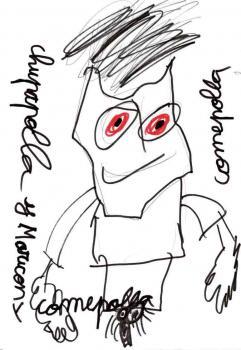 """David, 8 anos - Ele sofreu abuso sexual. No desenho, ele destaca os olhos e o pênis do agressor. Ele escreve também """"marica"""" e """"chupa-rolas"""". O agressor falava isso enquanto o estuprava."""
