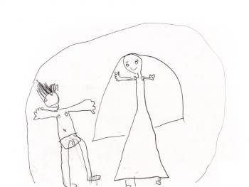 """Marina, 5 anos - Era abusada pelo pai, que também obrigava ela a assistir filmes pornô. No desenho, ela retrata um dos filmes que ela assistiu. Ela disse ao especialista que nesses filmes as pessoas """"ficavam peladas e faziam coisa feia""""."""